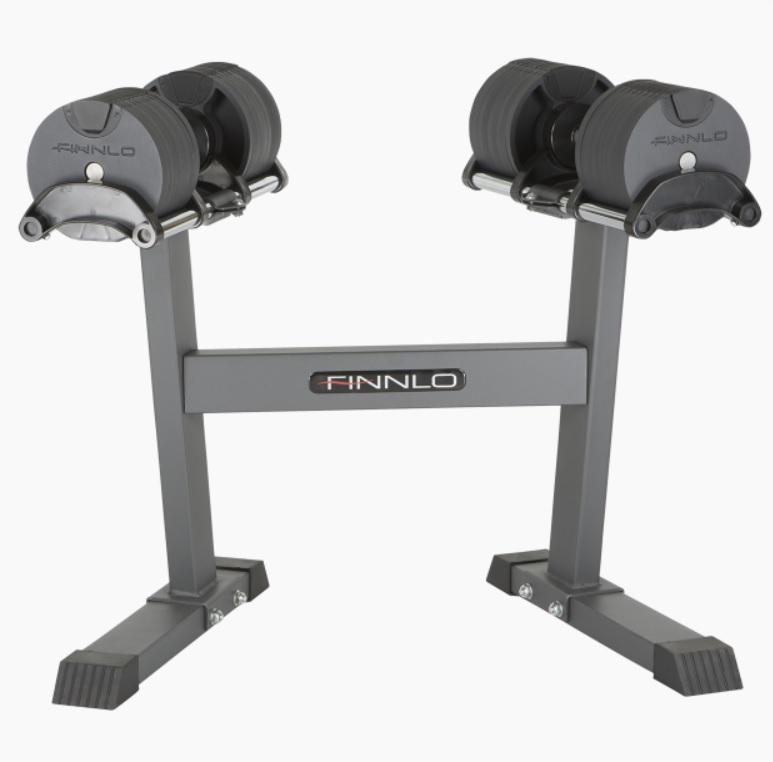Гантели, гири: Регулируемые гантели 2х20 кг со стойкой FINNLO SMART LOCK
