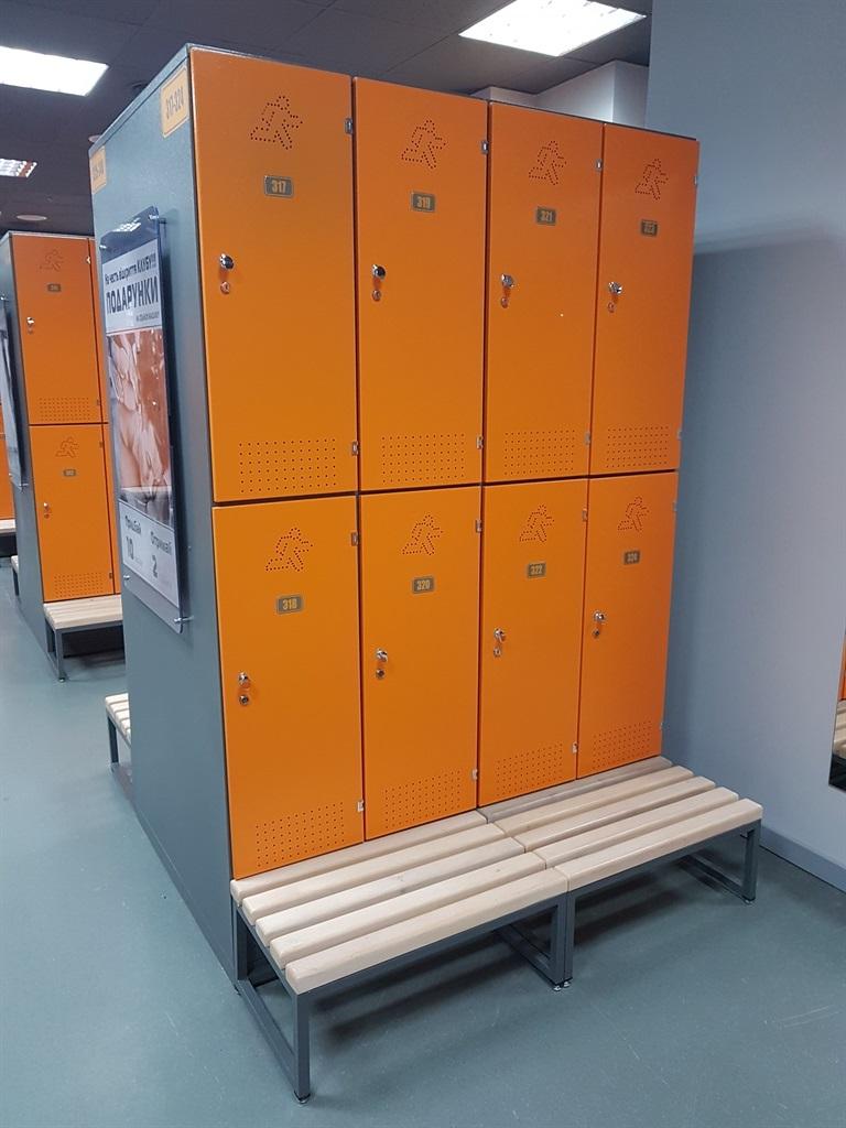 Шкафы: Шкаф для раздевалки премиум на 2 ячейки