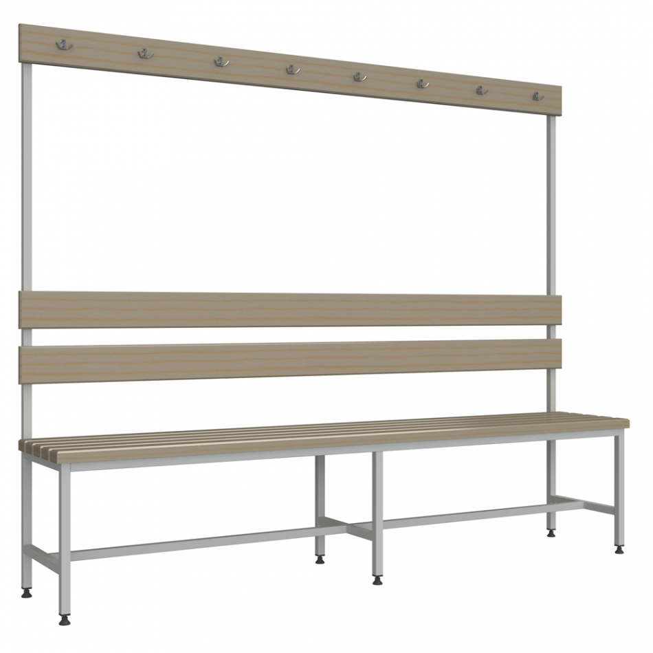 Лавки: Скамейка для раздевалки с вешалкой 2 м