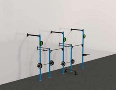 Рамы с креплением в стену: Пристенная кроссфит рама на 4 секции с 3 креплением для колец